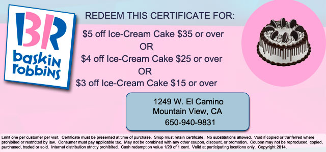 Coupon for ice cream cake